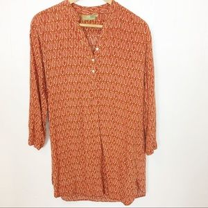 Rock Flower Paper Rayon Button Popover Tunic